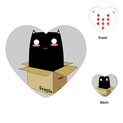 Black Cat In A Box Playing Cards (heart)  by Catifornia
