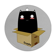 Black Cat In A Box Round Ornament (two Sides) by Catifornia