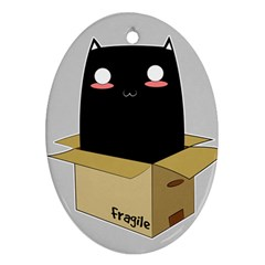 Black Cat In A Box Oval Ornament (two Sides) by Catifornia
