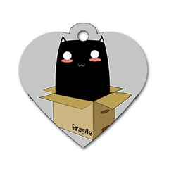Black Cat In A Box Dog Tag Heart (one Side) by Catifornia