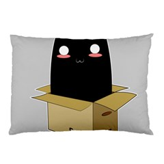 Black Cat In A Box Pillow Case by Catifornia