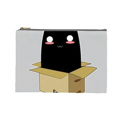 Black Cat In A Box Cosmetic Bag (large)  by Catifornia