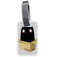 Black Cat In A Box Luggage Tags (one Side)  by Catifornia