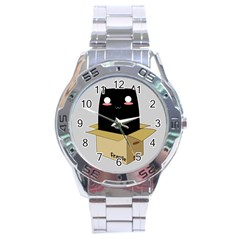 Black Cat In A Box Stainless Steel Analogue Watch by Catifornia