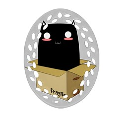 Black Cat In A Box Ornament (oval Filigree) by Catifornia