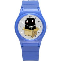 Black Cat In A Box Round Plastic Sport Watch (s) by Catifornia