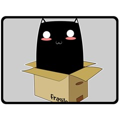Black Cat In A Box Double Sided Fleece Blanket (large)  by Catifornia