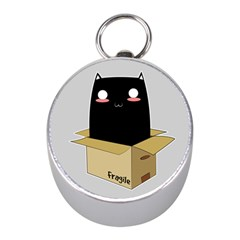 Black Cat In A Box Mini Silver Compasses by Catifornia