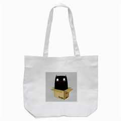 Black Cat In A Box Tote Bag (white) by Catifornia