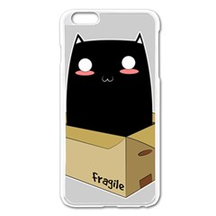 Black Cat In A Box Apple Iphone 6 Plus/6s Plus Enamel White Case by Catifornia