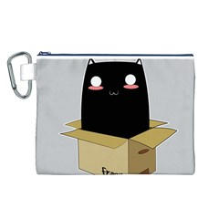 Black Cat In A Box Canvas Cosmetic Bag (l) by Catifornia