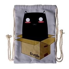 Black Cat In A Box Drawstring Bag (large) by Catifornia