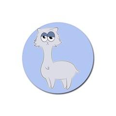 Grumpy Persian Cat Llama Rubber Coaster (round)  by Catifornia