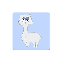 Grumpy Persian Cat Llama Square Magnet by Catifornia