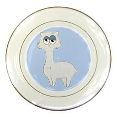 Grumpy Persian Cat Llama Porcelain Plates by Catifornia