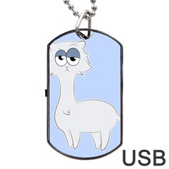 Grumpy Persian Cat Llama Dog Tag Usb Flash (two Sides) by Catifornia