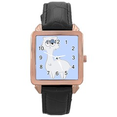 Grumpy Persian Cat Llama Rose Gold Leather Watch  by Catifornia