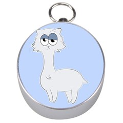 Grumpy Persian Cat Llama Silver Compasses by Catifornia