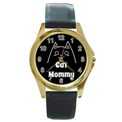 Love My Cat Mommy Round Gold Metal Watch by Catifornia