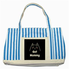 Love My Cat Mommy Striped Blue Tote Bag by Catifornia