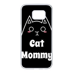 Love My Cat Mommy Samsung Galaxy S7 Edge White Seamless Case by Catifornia