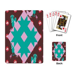 Animals Rooster Hens Chicks Chickens Plaid Star Flower Floral Sunflower Playing Card by Mariart