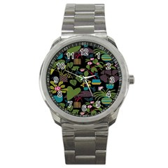 Wreaths Flower Floral Leaf Rose Sunflower Green Yellow Black Sport Metal Watch by Mariart