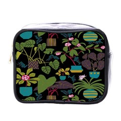 Wreaths Flower Floral Leaf Rose Sunflower Green Yellow Black Mini Toiletries Bags by Mariart