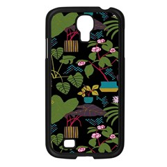 Wreaths Flower Floral Leaf Rose Sunflower Green Yellow Black Samsung Galaxy S4 I9500/ I9505 Case (black) by Mariart