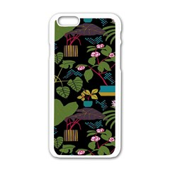Wreaths Flower Floral Leaf Rose Sunflower Green Yellow Black Apple Iphone 6/6s White Enamel Case by Mariart