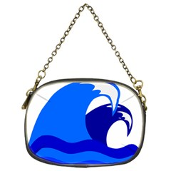Blue Beach Sea Wave Waves Chevron Water Chain Purses (one Side)  by Mariart