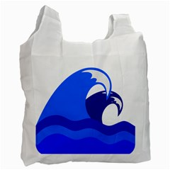 Blue Beach Sea Wave Waves Chevron Water Recycle Bag (one Side) by Mariart