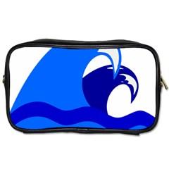 Blue Beach Sea Wave Waves Chevron Water Toiletries Bags by Mariart
