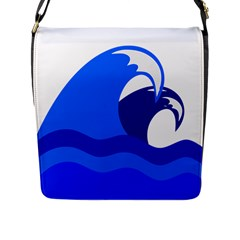 Blue Beach Sea Wave Waves Chevron Water Flap Messenger Bag (l)  by Mariart