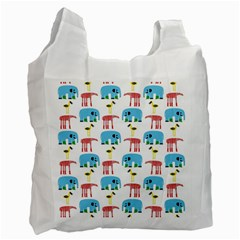 Animals Elephants Giraffes Bird Cranes Swan Recycle Bag (two Side)  by Mariart