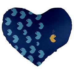 Blue Fish Sea Beach Swim Yellow Predator Water Large 19  Premium Flano Heart Shape Cushions by Mariart