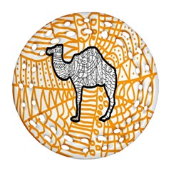 Animals Camel Animals Deserts Yellow Round Filigree Ornament (two Sides) by Mariart