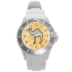 Animals Camel Animals Deserts Yellow Round Plastic Sport Watch (l) by Mariart