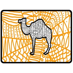 Animals Camel Animals Deserts Yellow Double Sided Fleece Blanket (large)  by Mariart