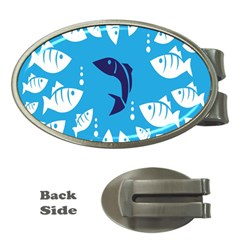 Blue Fish Tuna Sea Beach Swim White Predator Water Money Clips (oval)  by Mariart