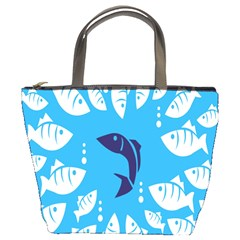 Blue Fish Tuna Sea Beach Swim White Predator Water Bucket Bags by Mariart