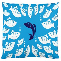 Blue Fish Tuna Sea Beach Swim White Predator Water Large Cushion Case (two Sides) by Mariart