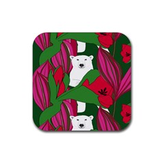 Animals White Bear Flower Floral Red Green Rubber Square Coaster (4 Pack)  by Mariart