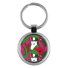 Animals White Bear Flower Floral Red Green Key Chains (round)  by Mariart