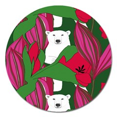 Animals White Bear Flower Floral Red Green Magnet 5  (round) by Mariart