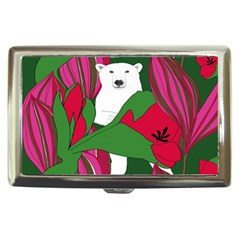 Animals White Bear Flower Floral Red Green Cigarette Money Cases by Mariart