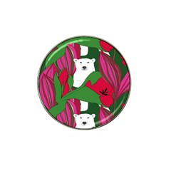 Animals White Bear Flower Floral Red Green Hat Clip Ball Marker by Mariart