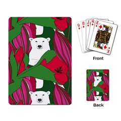Animals White Bear Flower Floral Red Green Playing Card by Mariart