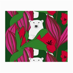Animals White Bear Flower Floral Red Green Small Glasses Cloth (2 Side) by Mariart