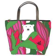 Animals White Bear Flower Floral Red Green Bucket Bags by Mariart